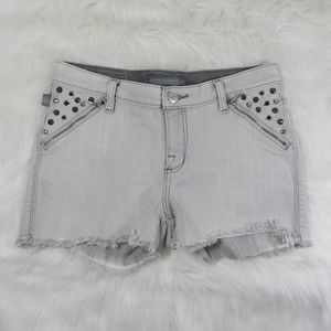 Rock & Republic Light Grey Denim Studded Shorts